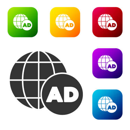 Black Advertising icon isolated on white background. Concept of marketing and promotion process. Responsive ads. Social media advertising. Set icons in color square buttons. Vector
