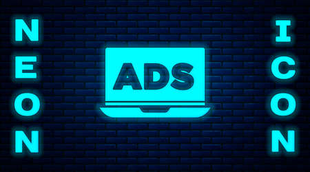 Glowing neon Advertising icon isolated on brick wall background. Concept of marketing and promotion process. Responsive ads. Social media advertising. Vector Ilustracja