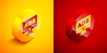 Isometric Advertising icon isolated on orange and red background. Concept of marketing and promotion process. Responsive ads. Social media advertising. Circle button. Vector