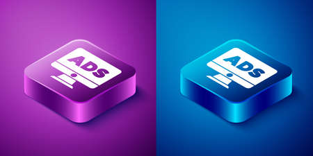 Isometric Advertising icon isolated on blue and purple background. Concept of marketing and promotion process. Responsive ads. Social media advertising. Square button. Vector Ilustracja