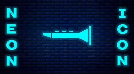 Glowing neon Clarinet icon isolated on brick wall background. Musical instrument. Vector