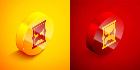 Isometric Old hourglass with flowing sand icon isolated on orange and red background. Sand clock sign. Business and time management concept. Circle button. Vector