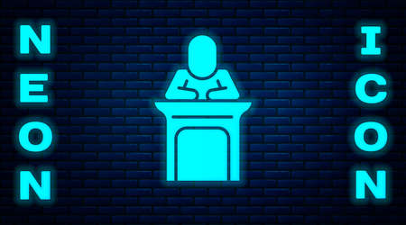 Glowing neon Judge icon isolated on brick wall background. Vector