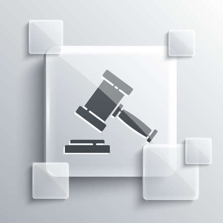 Grey Judge gavel icon isolated on grey background. Gavel for adjudication of sentences and bills, court, justice. Auction hammer. Square glass panels. Vector Vektorové ilustrace