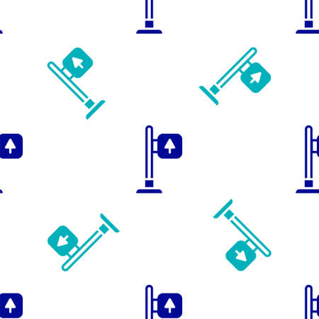 Blue Road traffic sign. Signpost icon isolated seamless pattern on white background. Pointer symbol. Street information sign. Direction sign. Vector Ilustracja