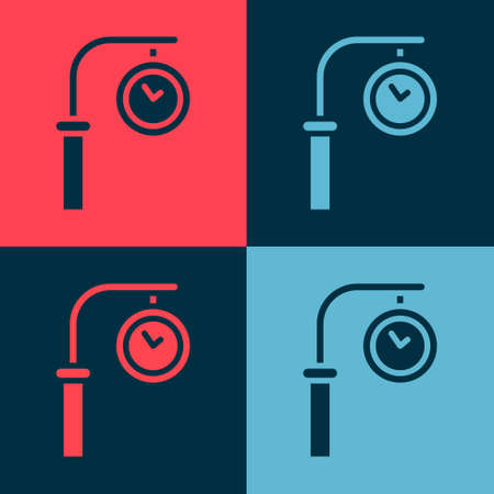 Pop art Train station clock icon isolated on color background. Vector Çizim