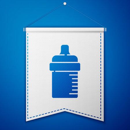 Blue Baby bottle icon isolated on blue background. Feeding bottle icon. Milk bottle sign. White pennant template. Vector Vektorgrafik