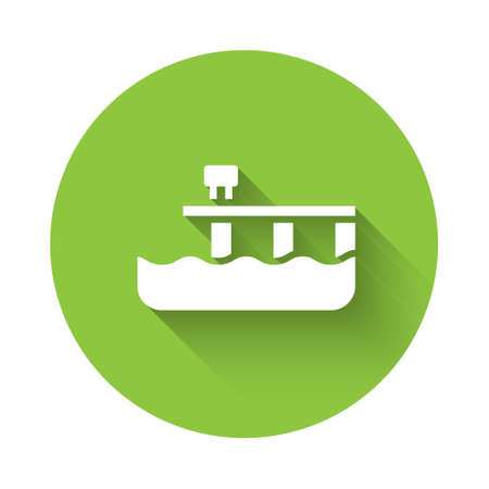 White Beach pier dock icon isolated with long shadow. Green circle button. Vector