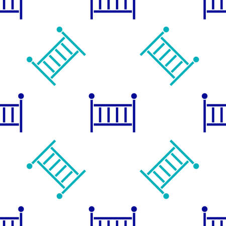 Blue Baby crib cradle bed icon isolated seamless pattern on white background. Vector