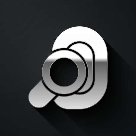 Silver Hearing aid icon isolated on black background. Hearing and ear. Long shadow style. Vector  イラスト・ベクター素材