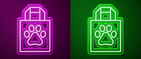 Glowing neon line Shopping bag pet icon isolated on purple and green background. Pet shop online. Animal clinic. Vector  イラスト・ベクター素材