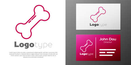 Logotype line Dog bone icon isolated on white background. Pets food symbol. Logo design template element. Vector