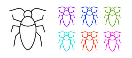 Black line Cockroach icon isolated on white background. Set icons colorful. Vector  イラスト・ベクター素材