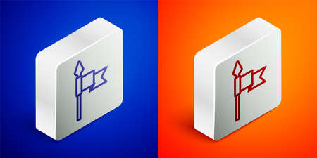 Isometric line Medieval spear icon isolated on blue and orange background. Medieval weapon. Silver square button. Vector