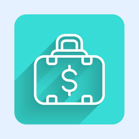 White line Briefcase and money icon isolated with long shadow. Business case sign. Business portfolio. Green square button. Vector