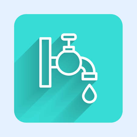 White line Water tap icon isolated with long shadow. Green square button. Vector  イラスト・ベクター素材