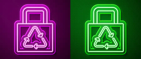 Glowing neon line Paper shopping bag with recycle icon isolated on purple and green background. Bag with recycling symbol. Vector