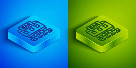 Isometric line Restaurant train icon isolated on blue and green background. Square button. Vector