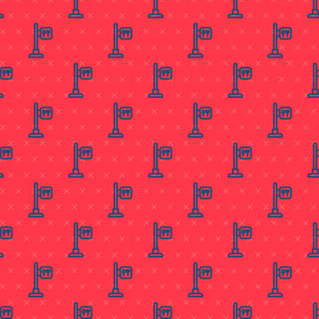 Blue line Cafe and restaurant location icon isolated seamless pattern on red background. Fork and spoon eatery sign inside pinpoint. Vector.