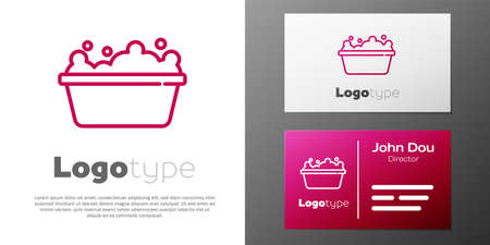 Logotype line Baby bathtub with foam bubbles inside icon isolated on white background. Logo design template element. Vector
