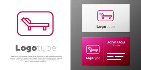 Logotype line Sunbed icon isolated on white background. Sun lounger. Logo design template element. Vector Ilustração