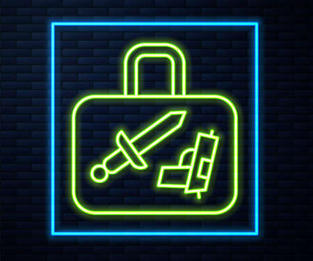 Glowing neon line Suitcase for travel icon isolated on brick wall background. Traveling baggage sign. Travel luggage icon. Vector