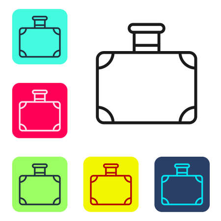 Black line Suitcase for travel icon isolated on white background. Traveling baggage sign. Travel luggage icon. Set icons in color square buttons. Vector