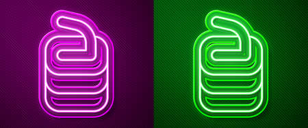 Glowing neon line Stone for curling sport game icon isolated on purple and green background. Sport equipment. Vector