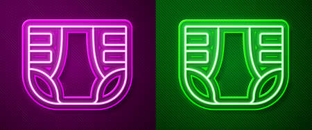 Glowing neon line Adult diaper icon isolated on purple and green background. Vector