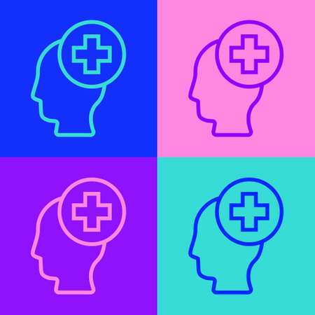 Pop art line Male head with hospital icon isolated on color background. Head with mental health, healthcare and medical sign. Vector