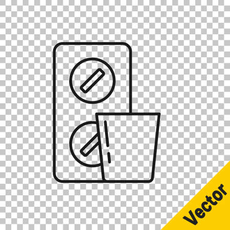 Black line Pills in blister pack icon isolated on transparent background. Medical drug package for tablet, vitamin, antibiotic, aspirin. Vector  イラスト・ベクター素材