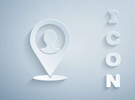 Paper cut Map marker with a silhouette of a person icon isolated on grey background. GPS location symbol. Paper art style. Vector  イラスト・ベクター素材