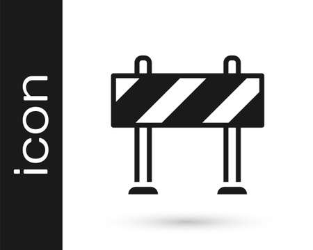 Black Road barrier icon isolated on white background. Symbol of restricted area which are in under construction processes. Repair works. Vector