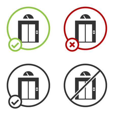 Black Lift icon isolated on white background. Elevator symbol. Circle button. Vector Ilustrace