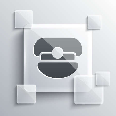 Grey Captain hat icon isolated on grey background. Square glass panels. Vector