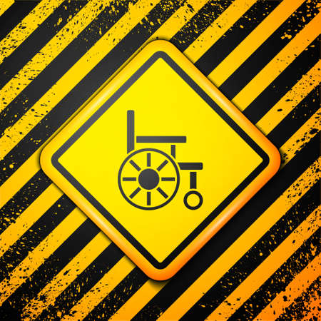 Black Wheelchair for disabled person icon isolated on yellow background. Warning sign. Vector