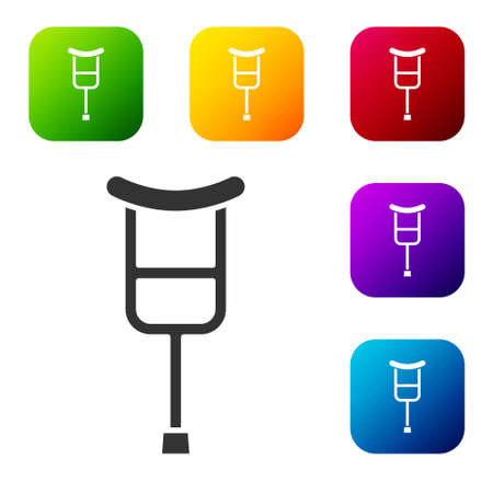 Black Crutch or crutches icon isolated on white background. Equipment for rehabilitation of people with diseases of musculoskeletal system. Set icons in color square buttons. Vector