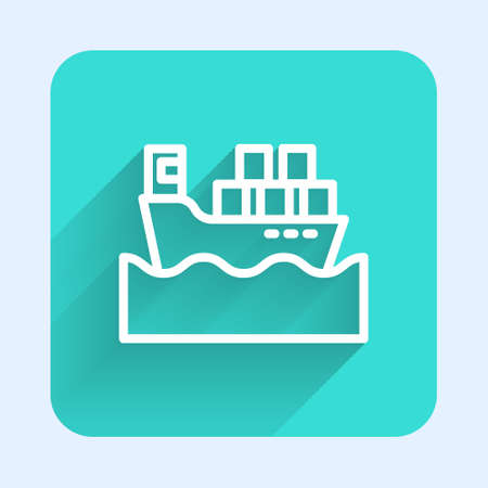White line Cargo ship with boxes delivery service icon isolated with long shadow. Delivery, transportation. Freighter with parcels, boxes, goods. Green square button. Vector Illustration