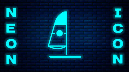Glowing neon Windsurfing icon isolated on brick wall background. Vector Illustration