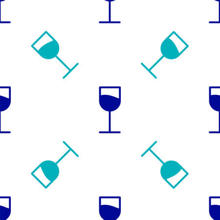 Blue Wine glass icon isolated seamless pattern on white background. Wineglass sign. Vector Illustration