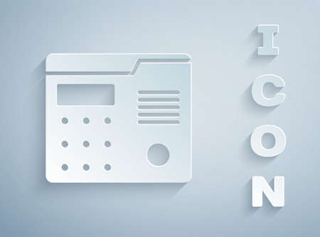 Paper cut House intercom system icon isolated on grey background. Paper art style. Vector Illustration