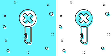 Black line Wrong key icon isolated on green and white background. Random dynamic shapes. Vector Illustration