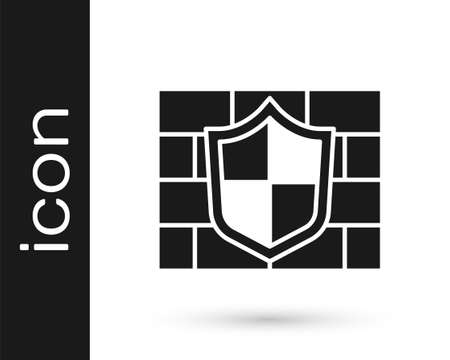 Black Shield with cyber security brick wall icon isolated on white background. Data protection symbol. Firewall. Network protection. Vector