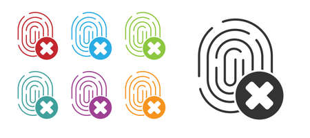 Black Cancelled fingerprint icon isolated on white background. Access denied for user concept. Error, fraud. Identification sign. Touch id. Set icons colorful. Vector Vettoriali