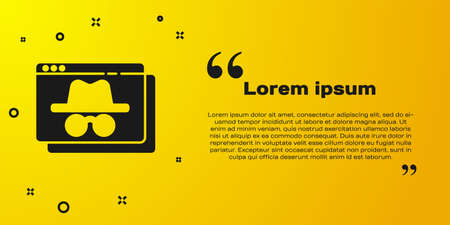 Black Browser incognito window icon isolated on yellow background. Vector