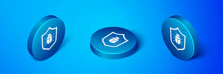 Isometric System bug concept icon isolated on blue background. Code bug concept. Bug in the system. Bug searching. Blue circle button. Vector Vettoriali