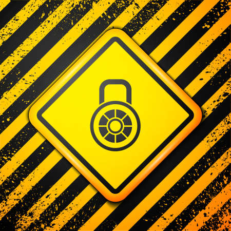 Black Safe combination lock icon isolated on yellow background. Combination padlock. Security, safety, protection, password, privacy. Warning sign. Vector Vettoriali