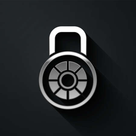 Silver Safe combination lock icon isolated on black background. Combination padlock. Security, safety, protection, password, privacy. Long shadow style. Vector
