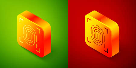 Isometric Fingerprint icon isolated on green and red background. ID app icon. Identification sign. Touch id. Square button. Vector Vettoriali