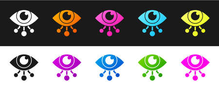 Set Eye scan icon isolated on black and white background. Scanning eye. Security check symbol. Cyber eye sign. Vector Vettoriali